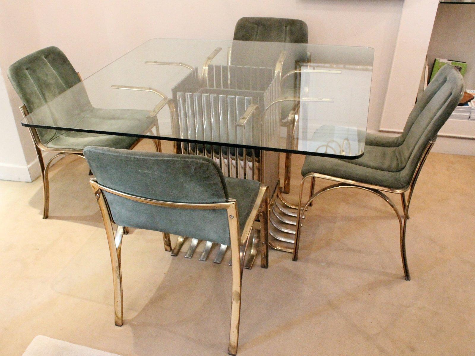 Tavolo da pranzo in vetro con 4 sedie, Italia, 1970 in vendita su Pamono