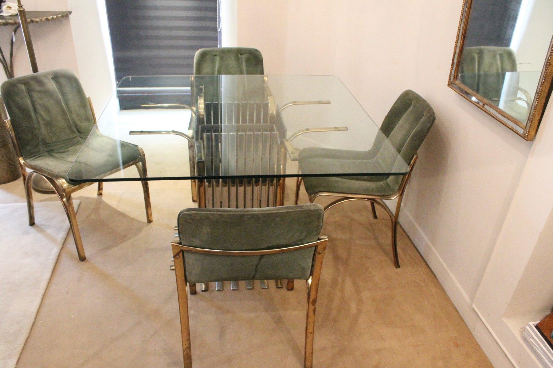 glas esstisch mit vier st hlen italien 1970 bei pamono kaufen. Black Bedroom Furniture Sets. Home Design Ideas