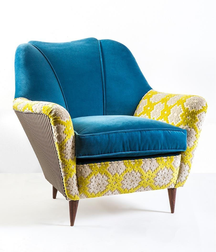 Superb Blue Velvet Armchair By MIA