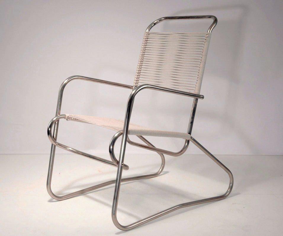 fauteuil en acier tubulaire par jean burkhalter 1930s en. Black Bedroom Furniture Sets. Home Design Ideas