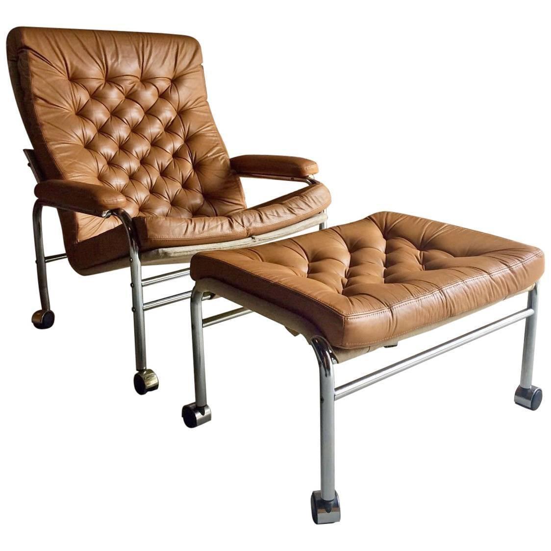 Bore Lounge Chair U0026 Footstool By Noboru Nakamura For Ikea, 1970s