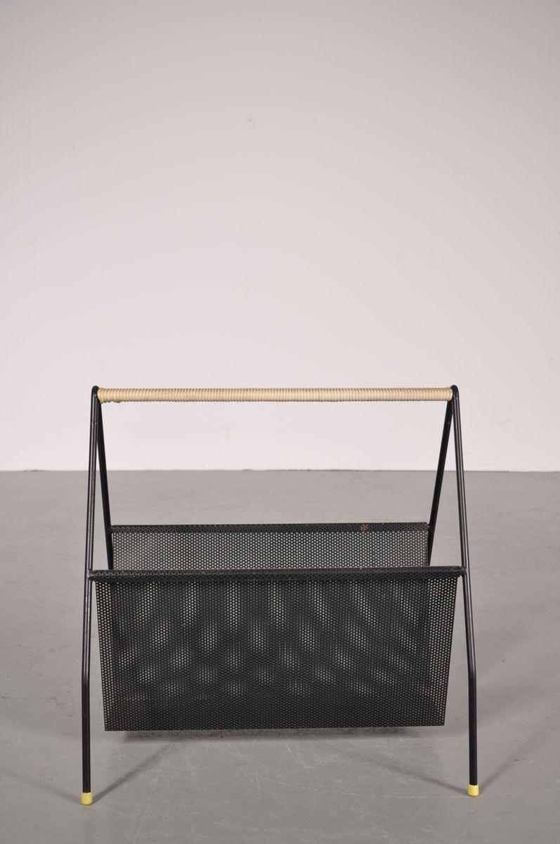 zeitschriftenst nder aus schwarzem lochblech 1950er bei pamono kaufen. Black Bedroom Furniture Sets. Home Design Ideas