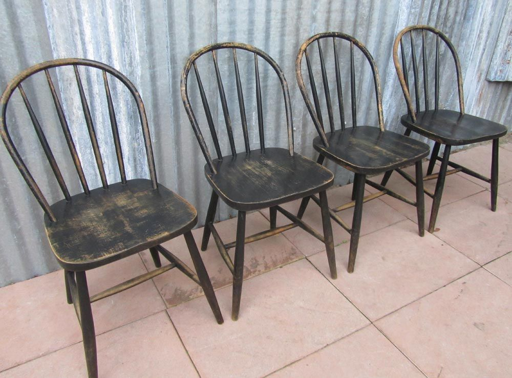 Vintage Wooden Bowback Dining Chairs, Set Of 4