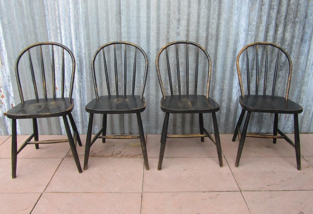 Vintage Wooden Bowback Dining Chairs, Set Of 4 For Sale At Pamono