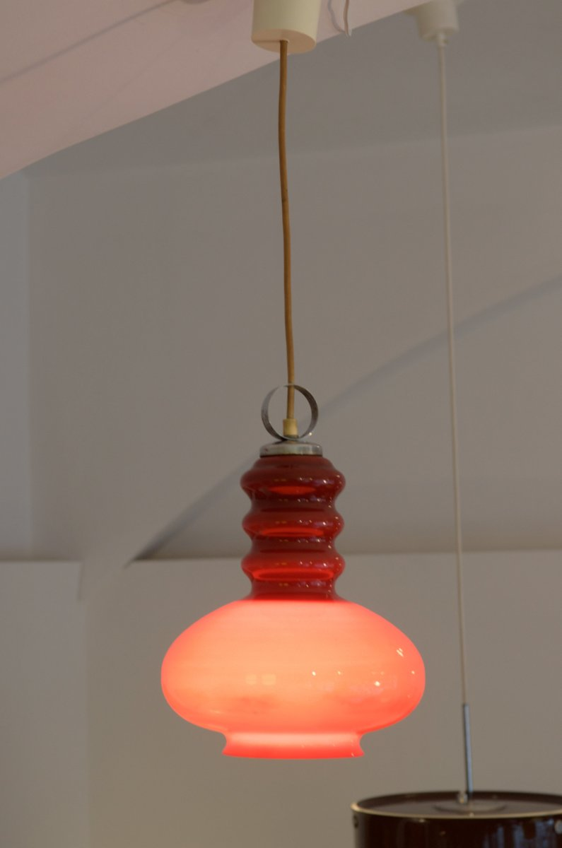 midcentury h ngelampe aus glas stahl bei pamono kaufen. Black Bedroom Furniture Sets. Home Design Ideas