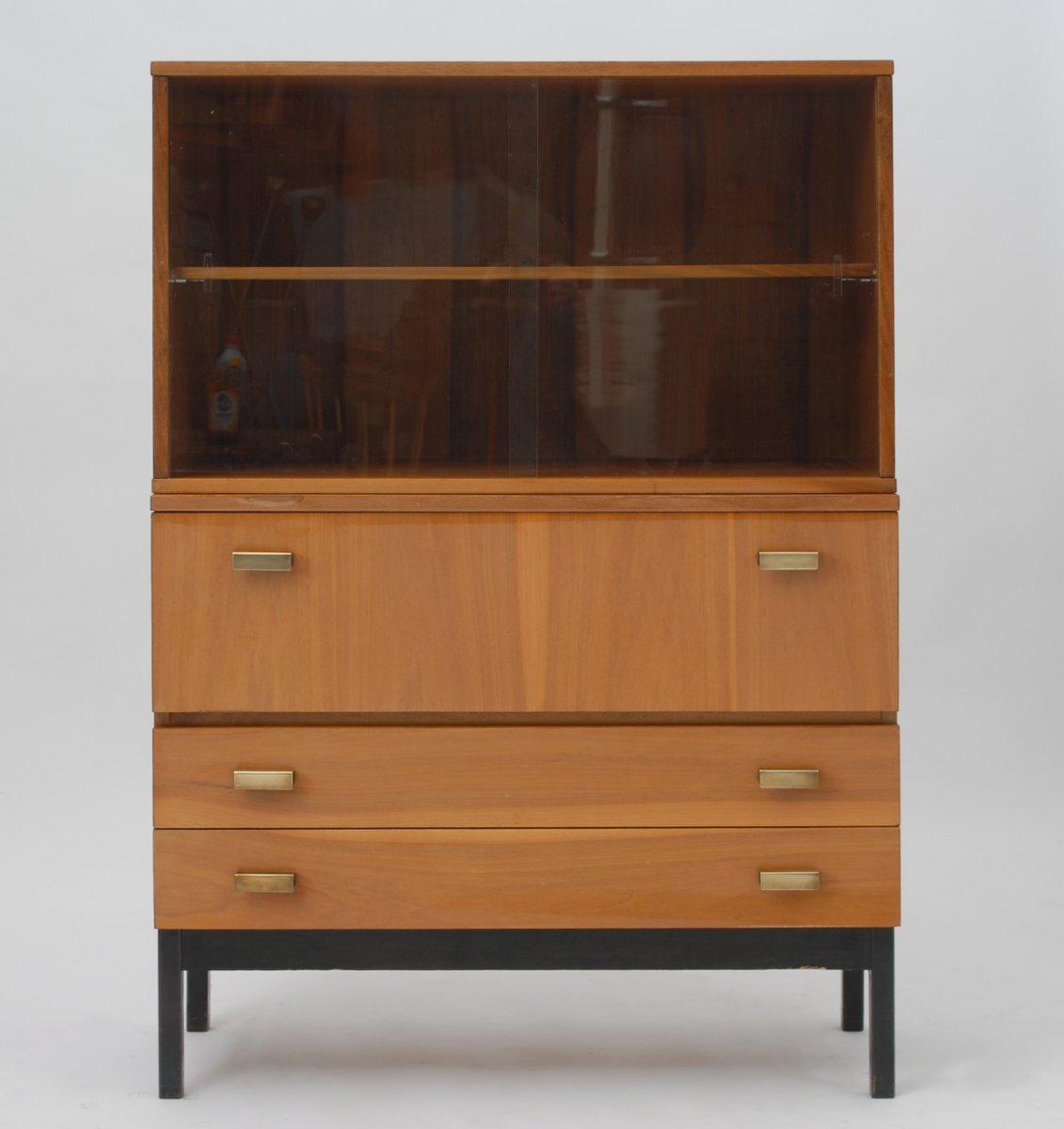 vintage schrank mit b cherregal von interi r praha 1964. Black Bedroom Furniture Sets. Home Design Ideas