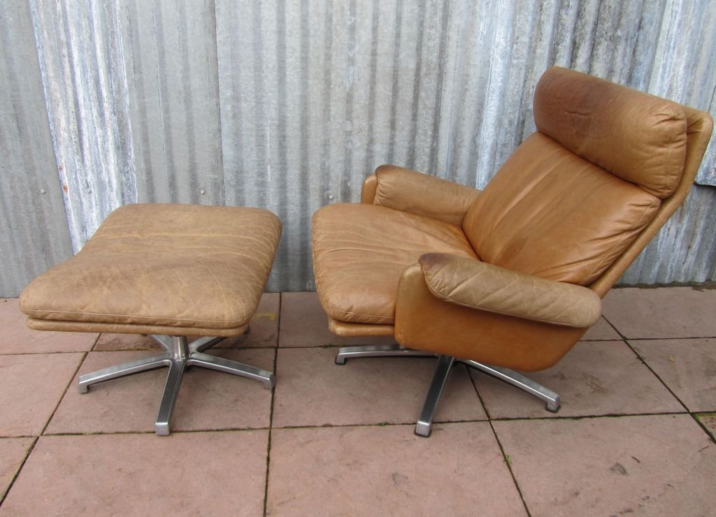 Mid century leather lounge swivel chair with ottoman for for Swivel club chair leather