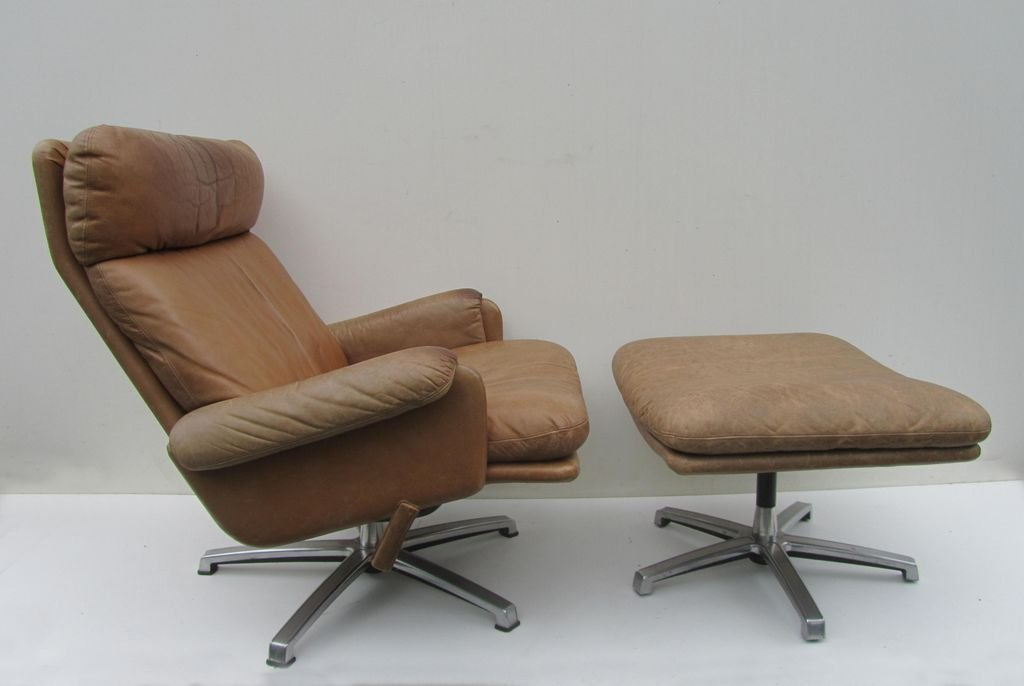 Perfect Mid Century Leather Lounge Swivel Chair With Ottoman