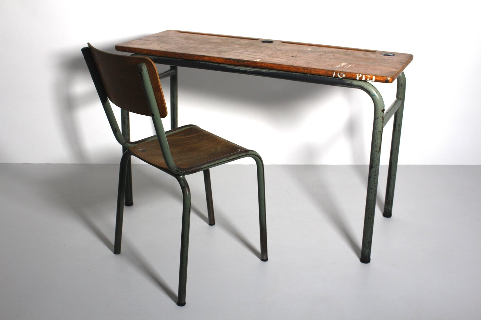 Vintage Industrial Style Desk and Chair 1940s Set of 2 for sale
