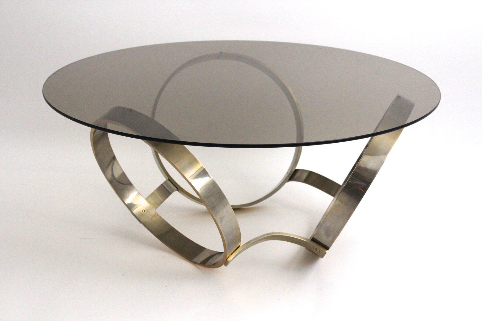couchtisch aus rauchglas mit drei ring gestell 1970er bei. Black Bedroom Furniture Sets. Home Design Ideas