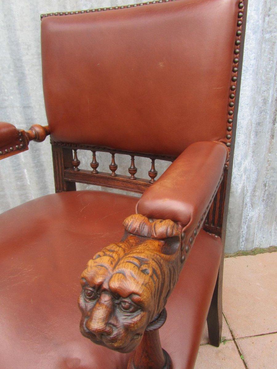 Antique Dutch Carved Oak Lion Head Arm Chair For Sale At