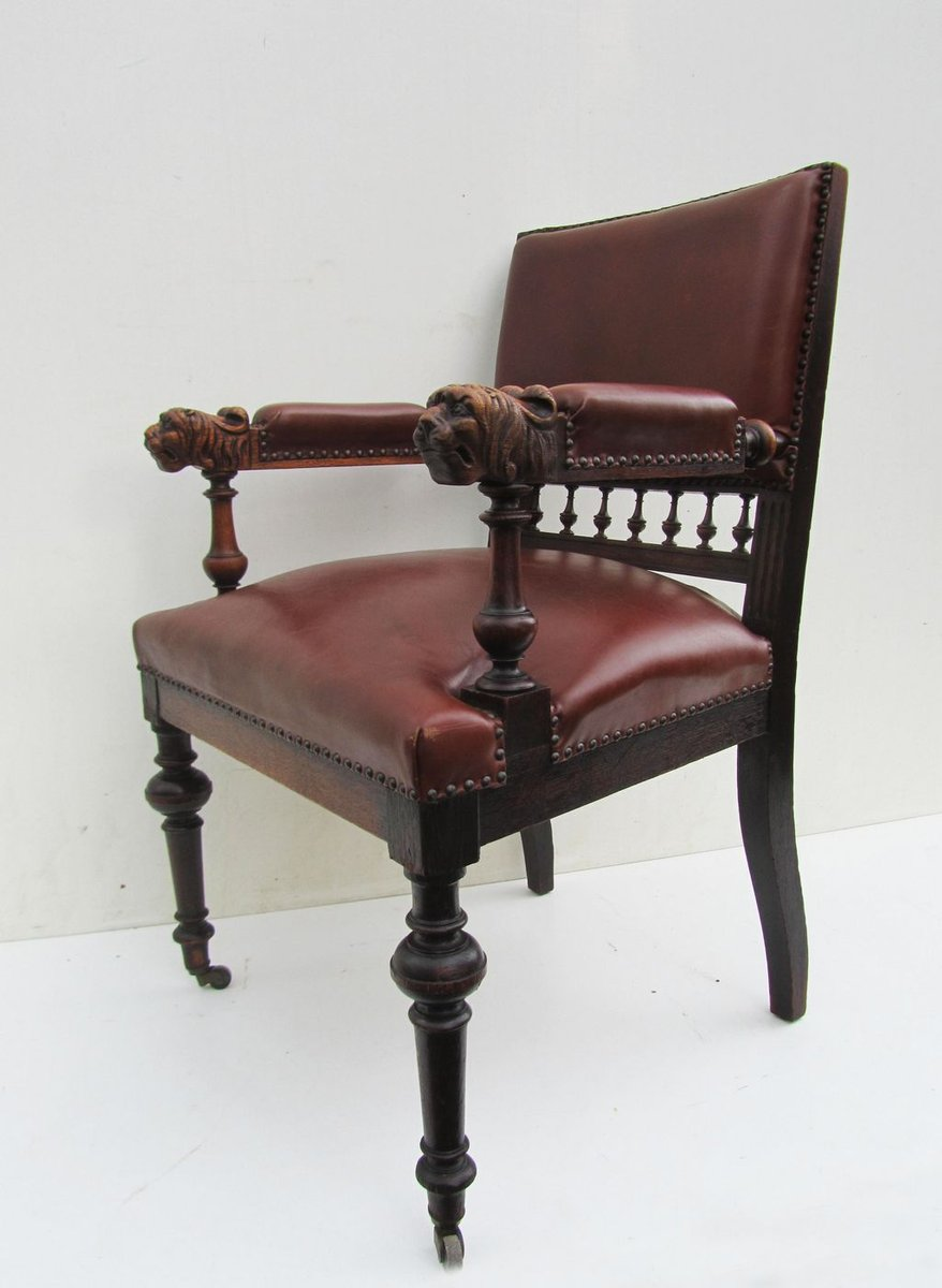 Antique Dutch Carved Oak Lion Head Arm Chair For Sale At
