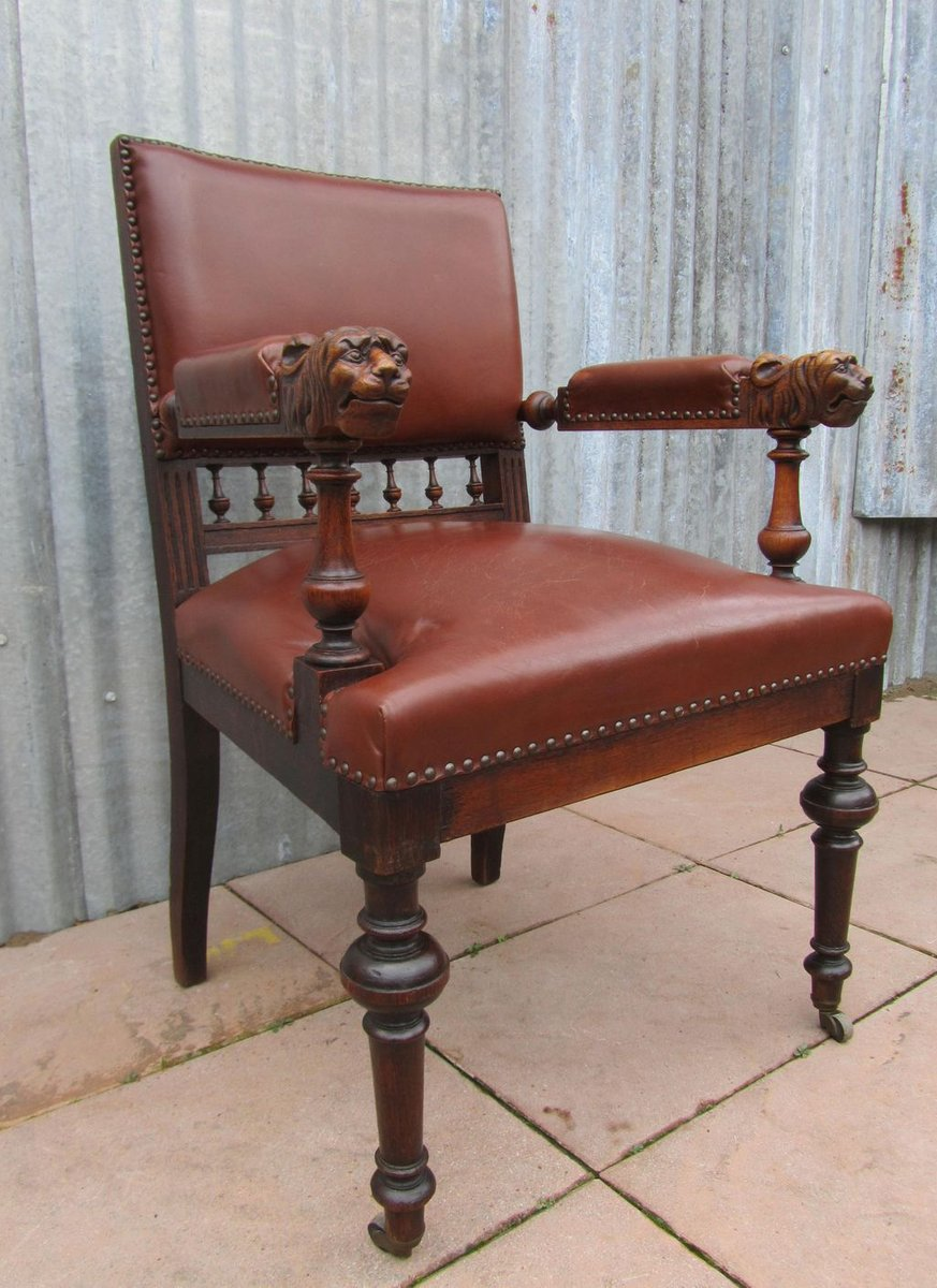 Antique Dutch Carved Oak Lion Head Arm Chair 11. $1,025.00. Price per piece - Antique Dutch Carved Oak Lion Head Arm Chair For Sale At Pamono