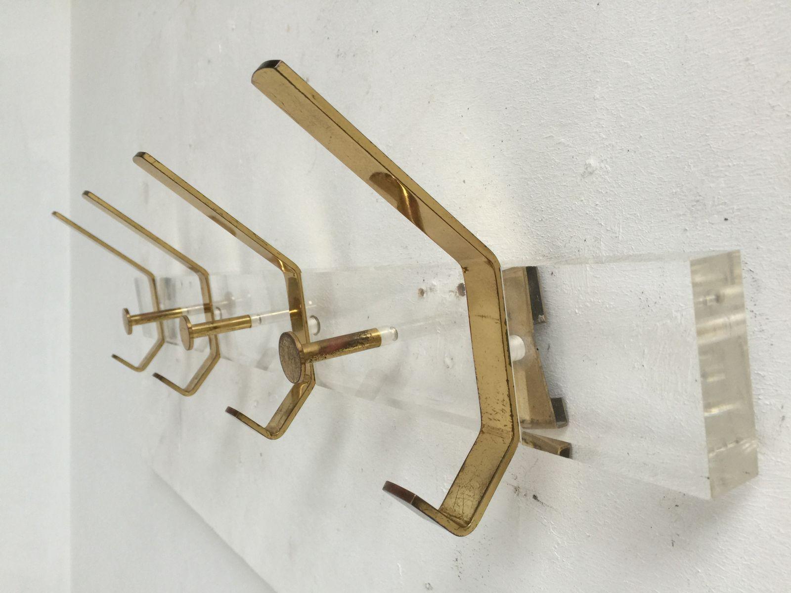 Italienische plexiglas messing garderobe 1970er bei for Garderobe italienisches design