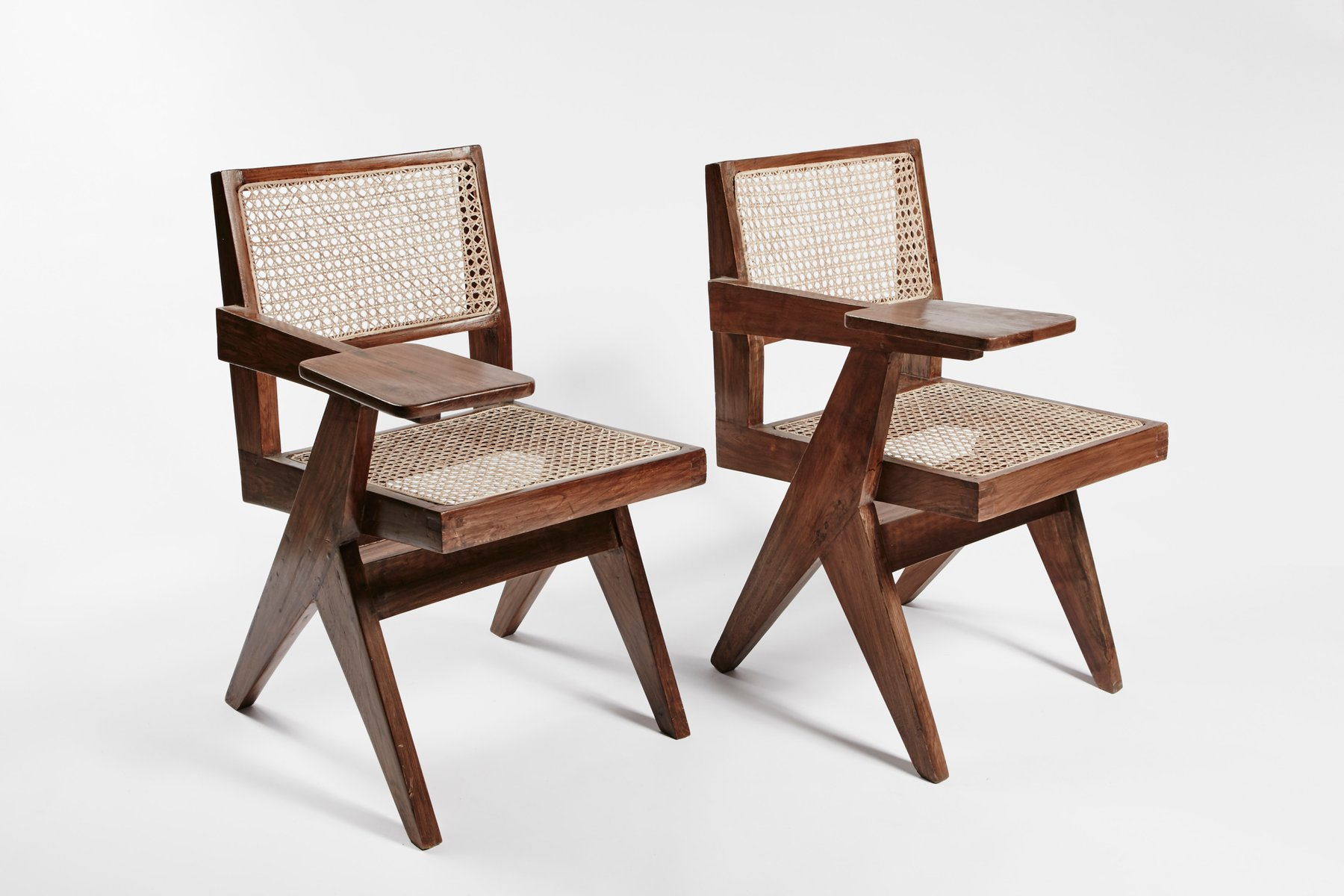 Teak and Wicker Desk Chairs by Pierre Jeanneret Set of 2 for sale