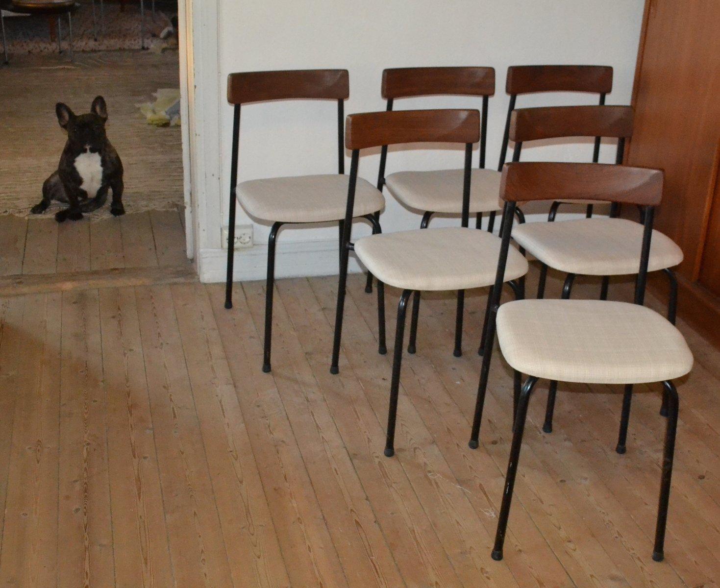 Sedie in metallo e teak di bjärnums stolfabrik svezia 1962 set di
