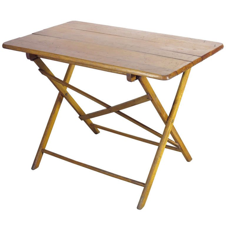 Foldable Industrial Wooden Work Table, 1930s For Sale At Pamono