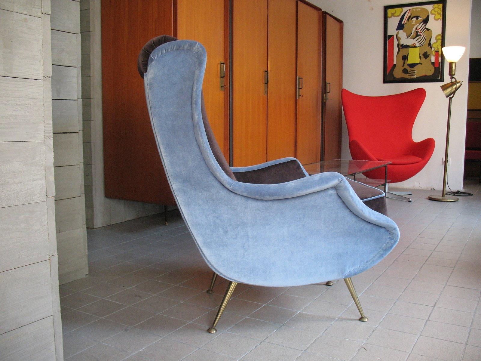Vintage French Velvet Armchair, 1950s