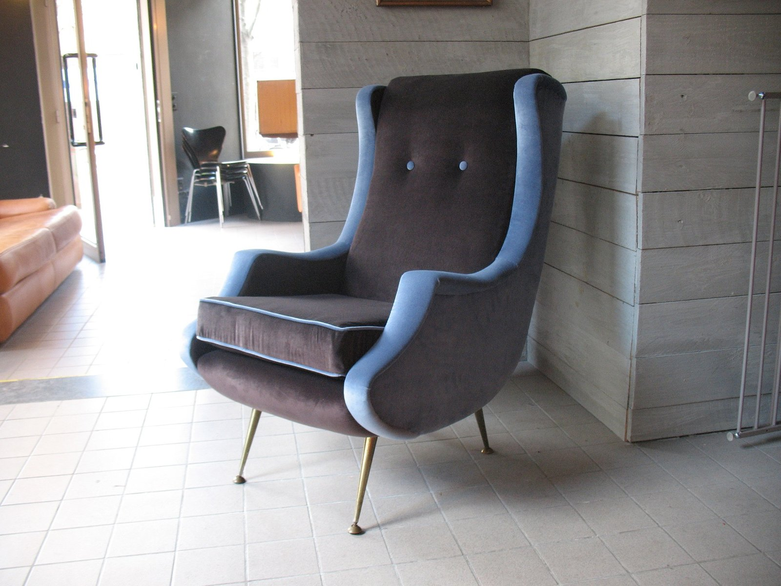 Vintage French Velvet Armchair, 1950s For Sale At Pamono
