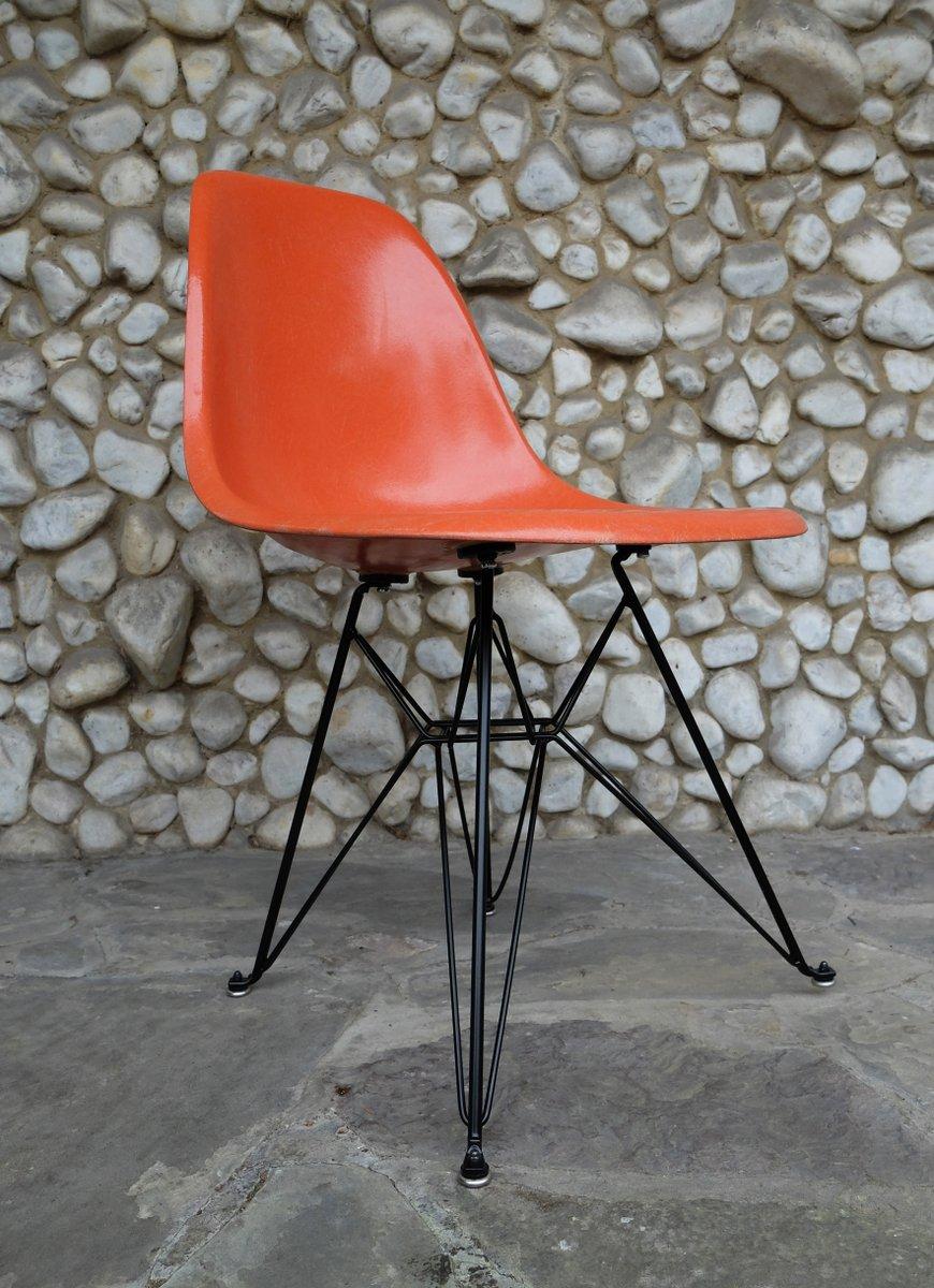 Orange Eiffel Base Side Chair By Charles U0026 Ray Eames For Herman Miller