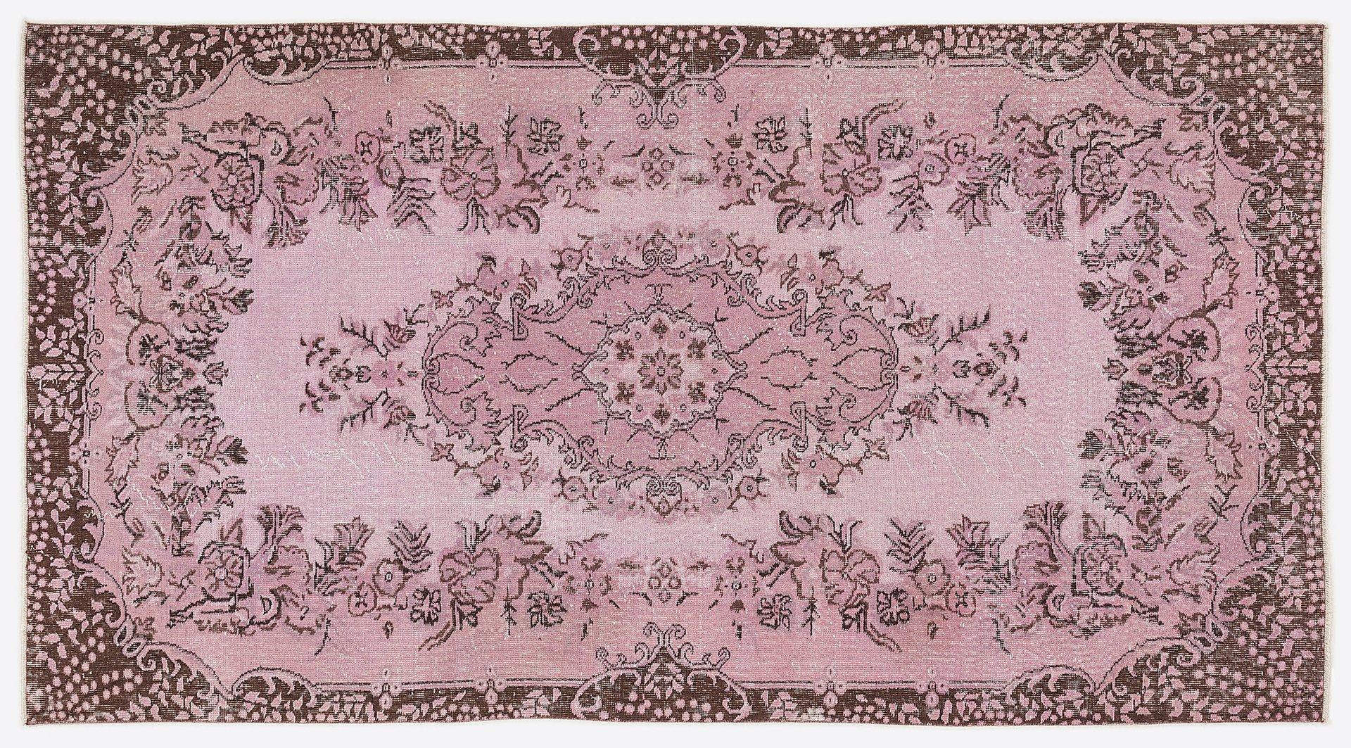 Vintage Turkish Pink Overdyed Floral Rug For Sale At Pamono