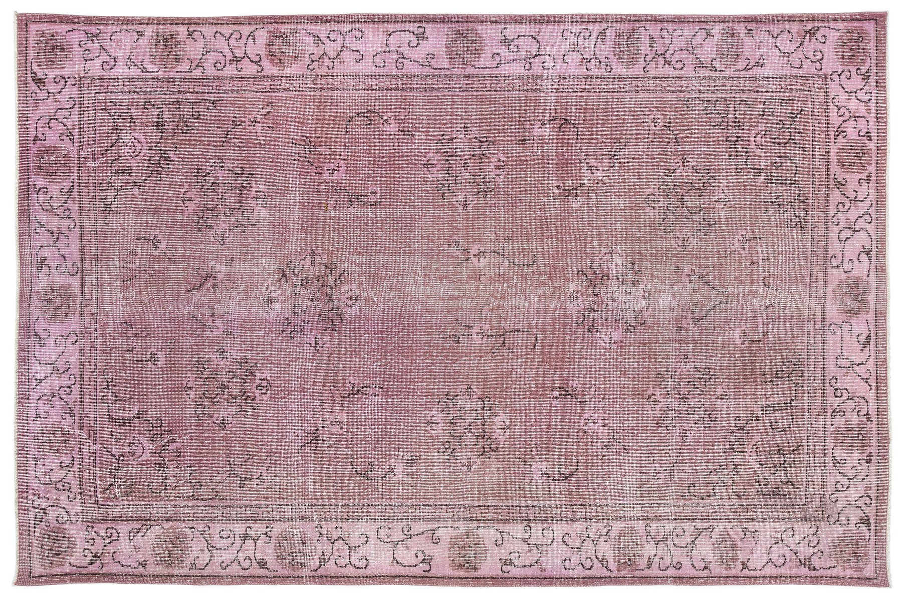 Vintage Turkish Pink Overdyed Rug