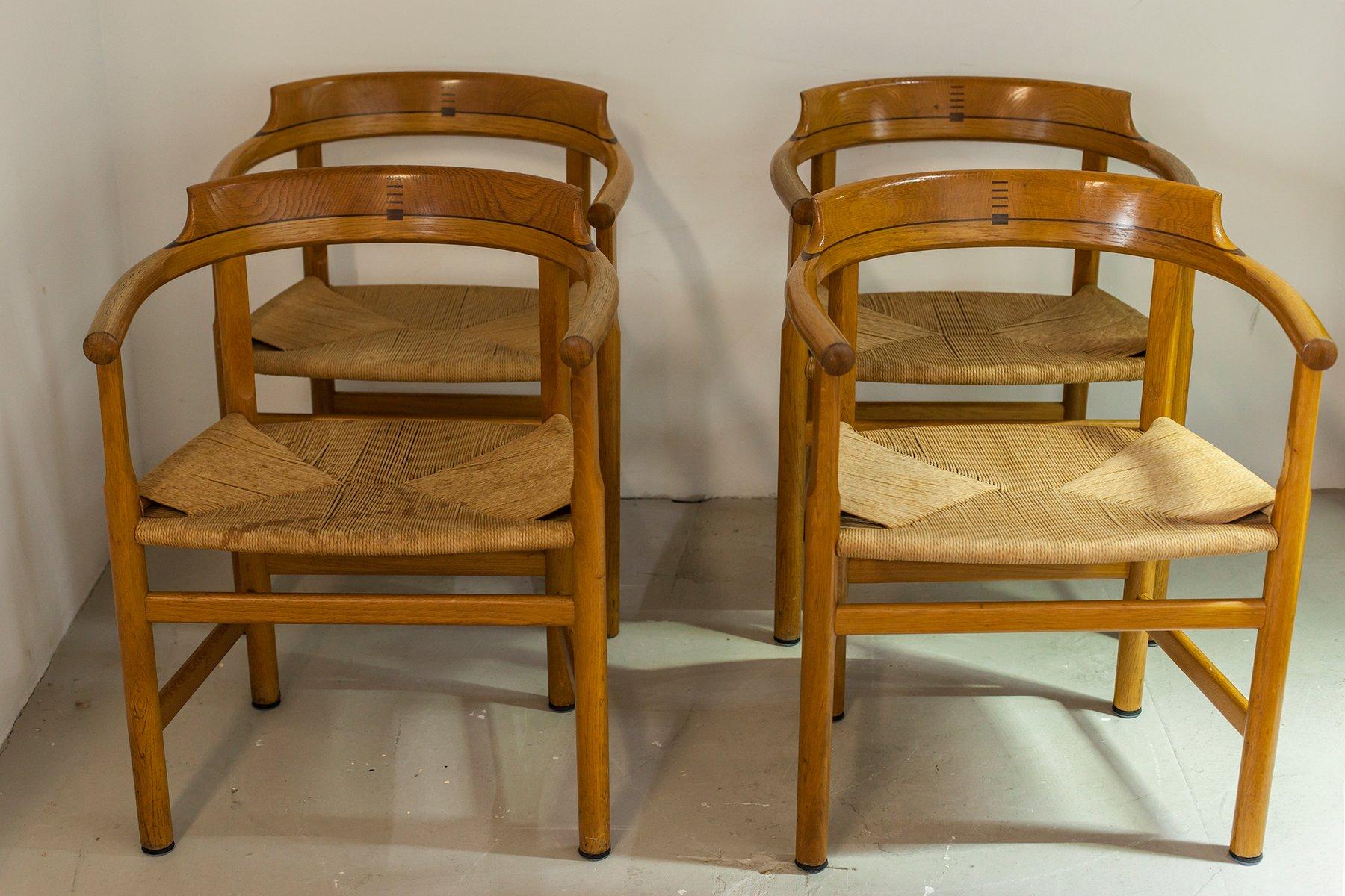 d nische st hle modell pp62 von hans j wegner 1960er 4er set bei pamono kaufen. Black Bedroom Furniture Sets. Home Design Ideas