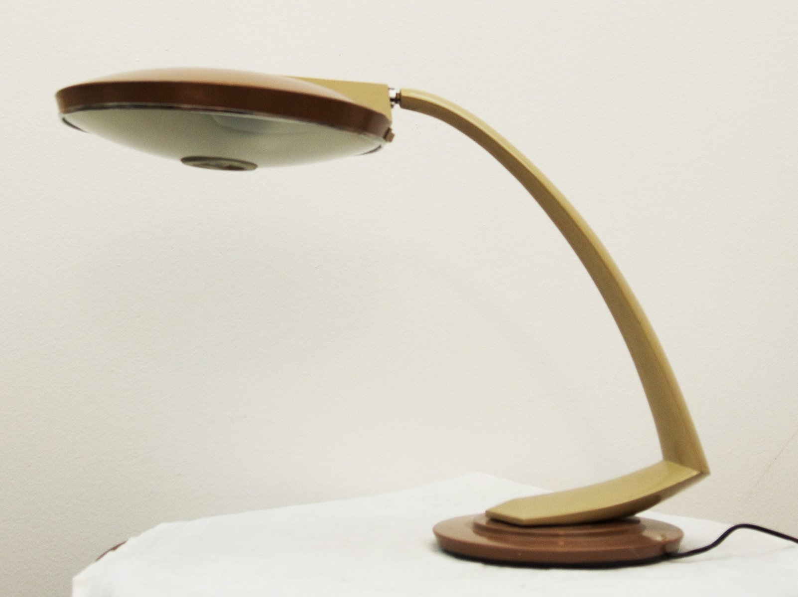 Spanish Steel And Gl Desk Lamp For Fase 1960s