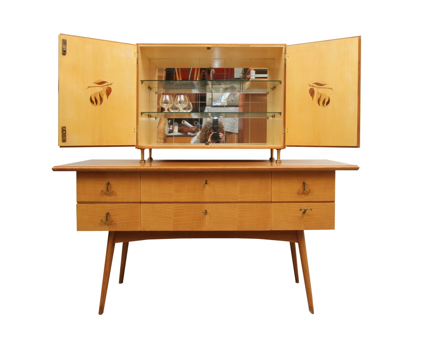 Cherry Wood Sideboard And Bar Cabinet 1950s