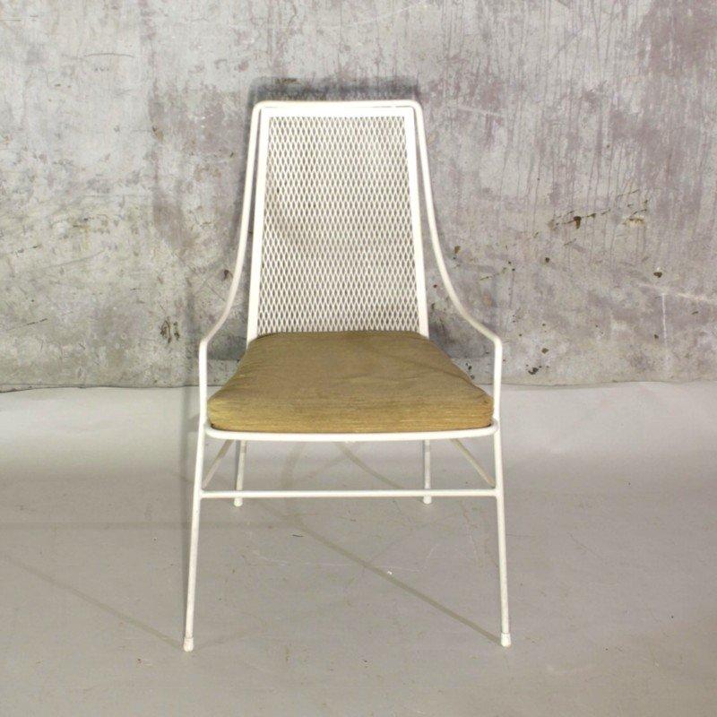 Vintage metall stuhl mit hocker 1950er bei pamono kaufen for Stuhl hocker