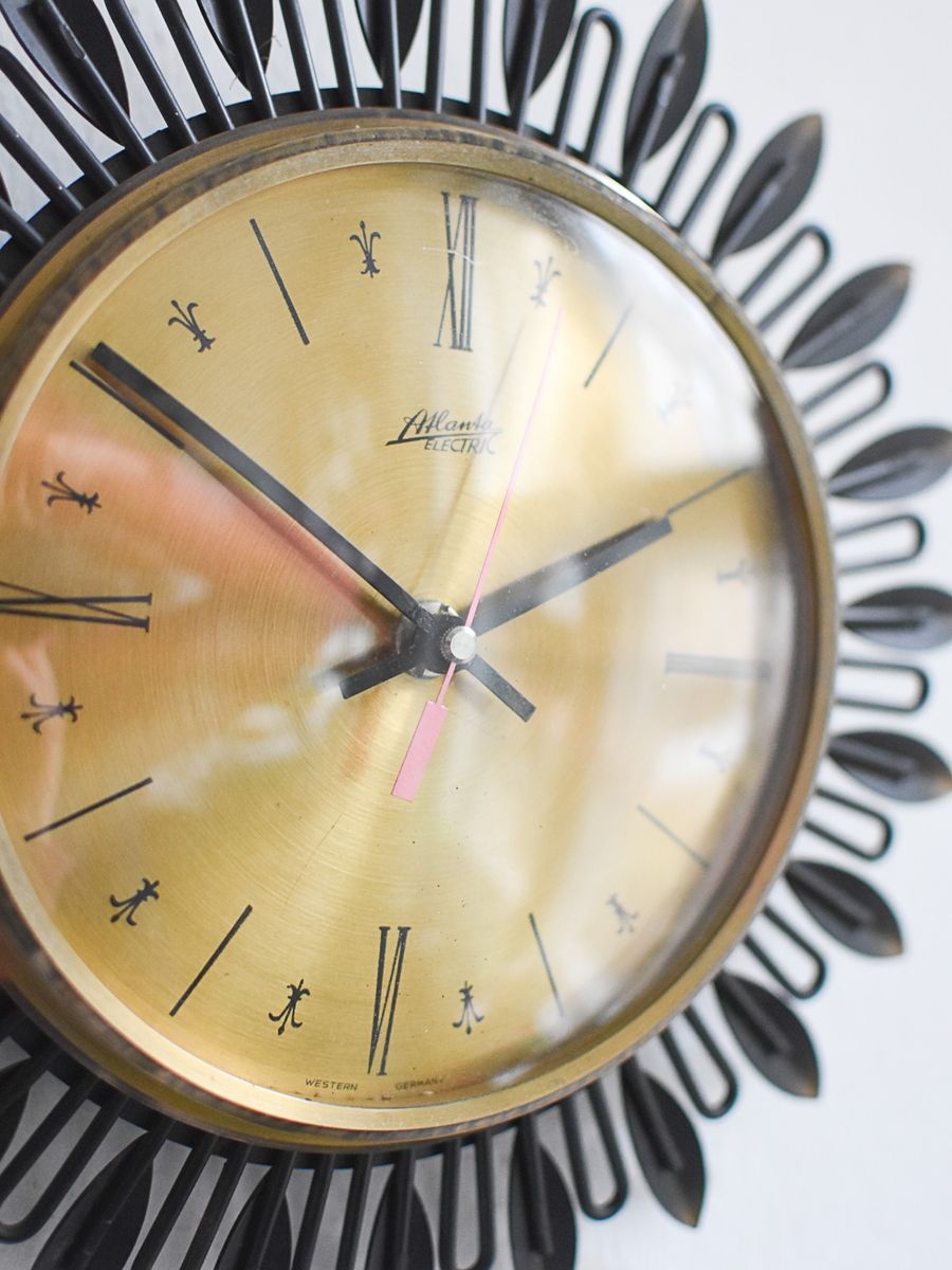 Mid-Century Large Sunburst Wall Clock from Atlanta for sale at Pamono