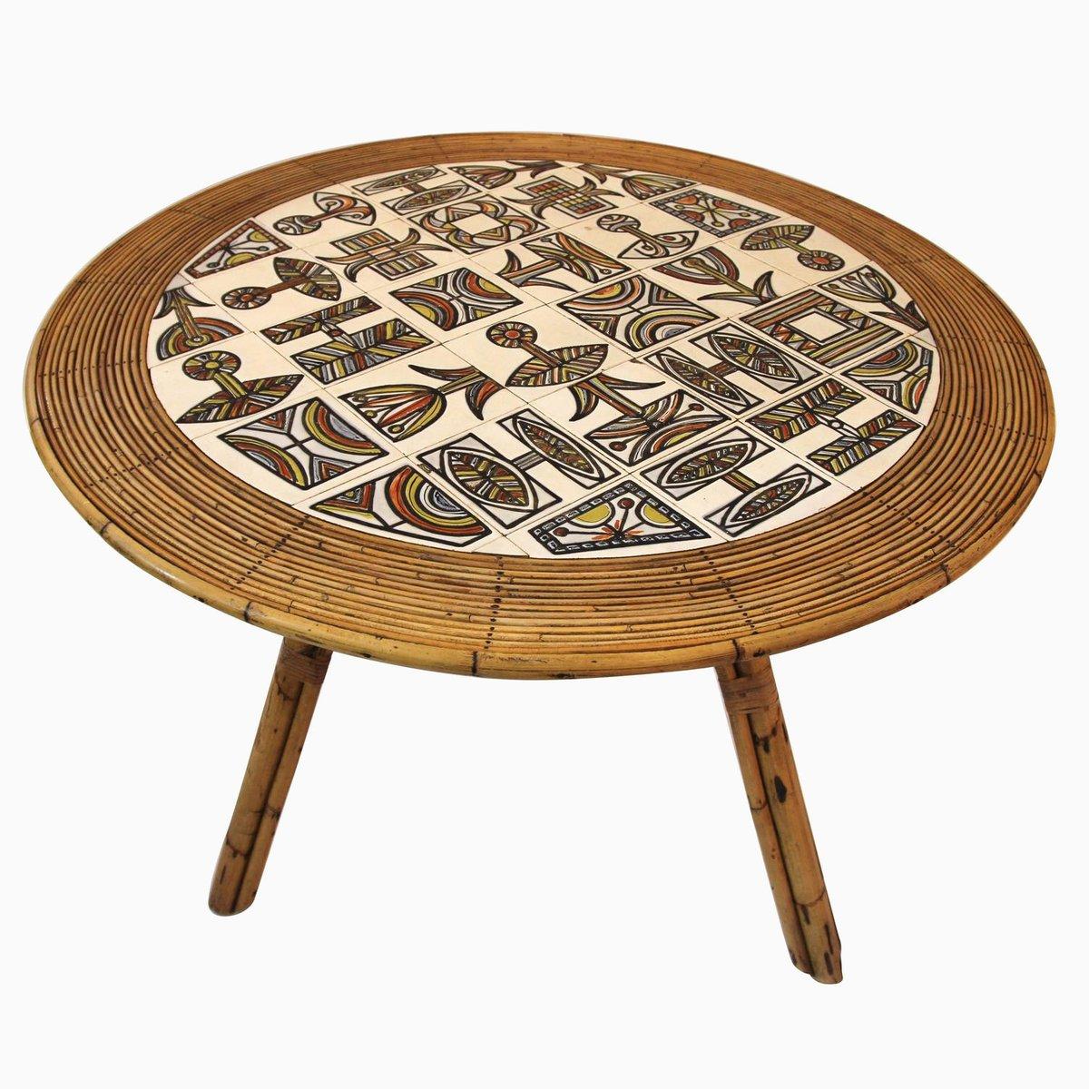 affordable bambus tisch von a audoux f minet mit keramik tischplatte von r capron er with tischplatte