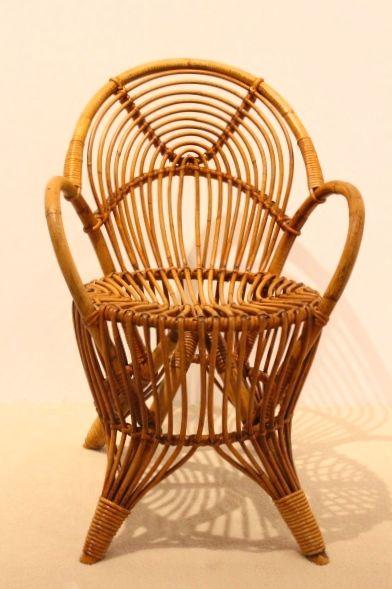 rattan stuhl 1950er bei pamono kaufen. Black Bedroom Furniture Sets. Home Design Ideas
