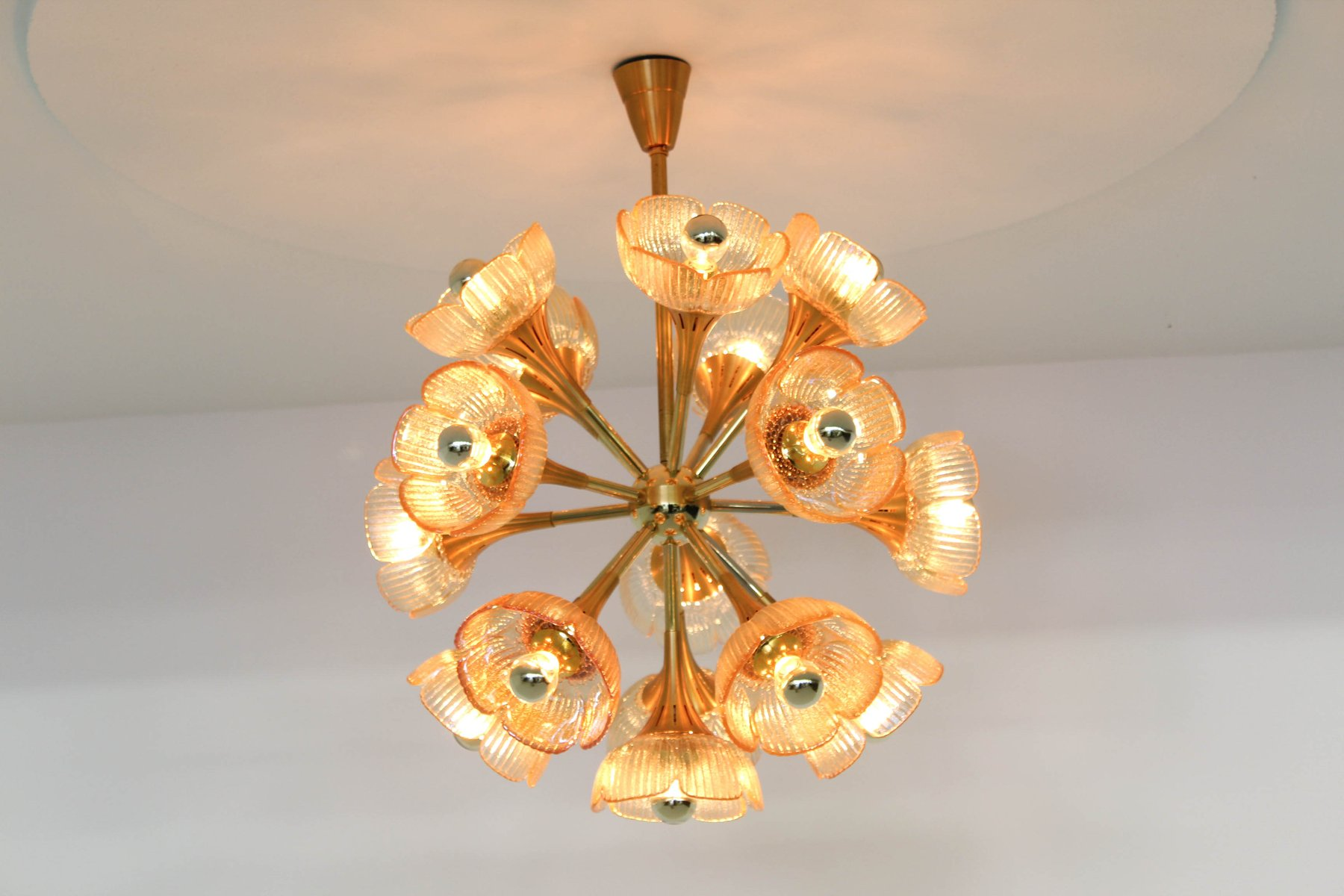 Italian Floral Midcentury Murano Glass Chandelier 1960s for sale