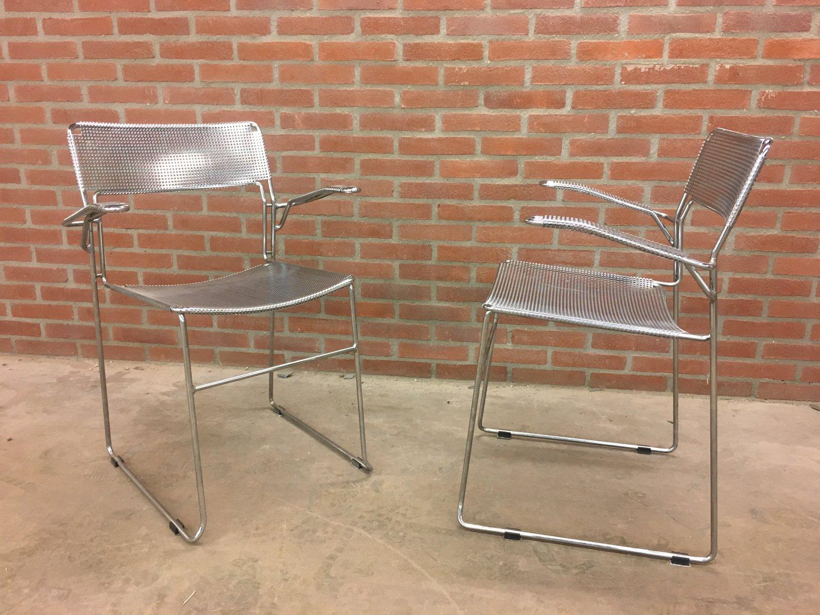 Italienische Vintage Chrom Stühle, 1980er, 2er Set bei Pamono kaufen