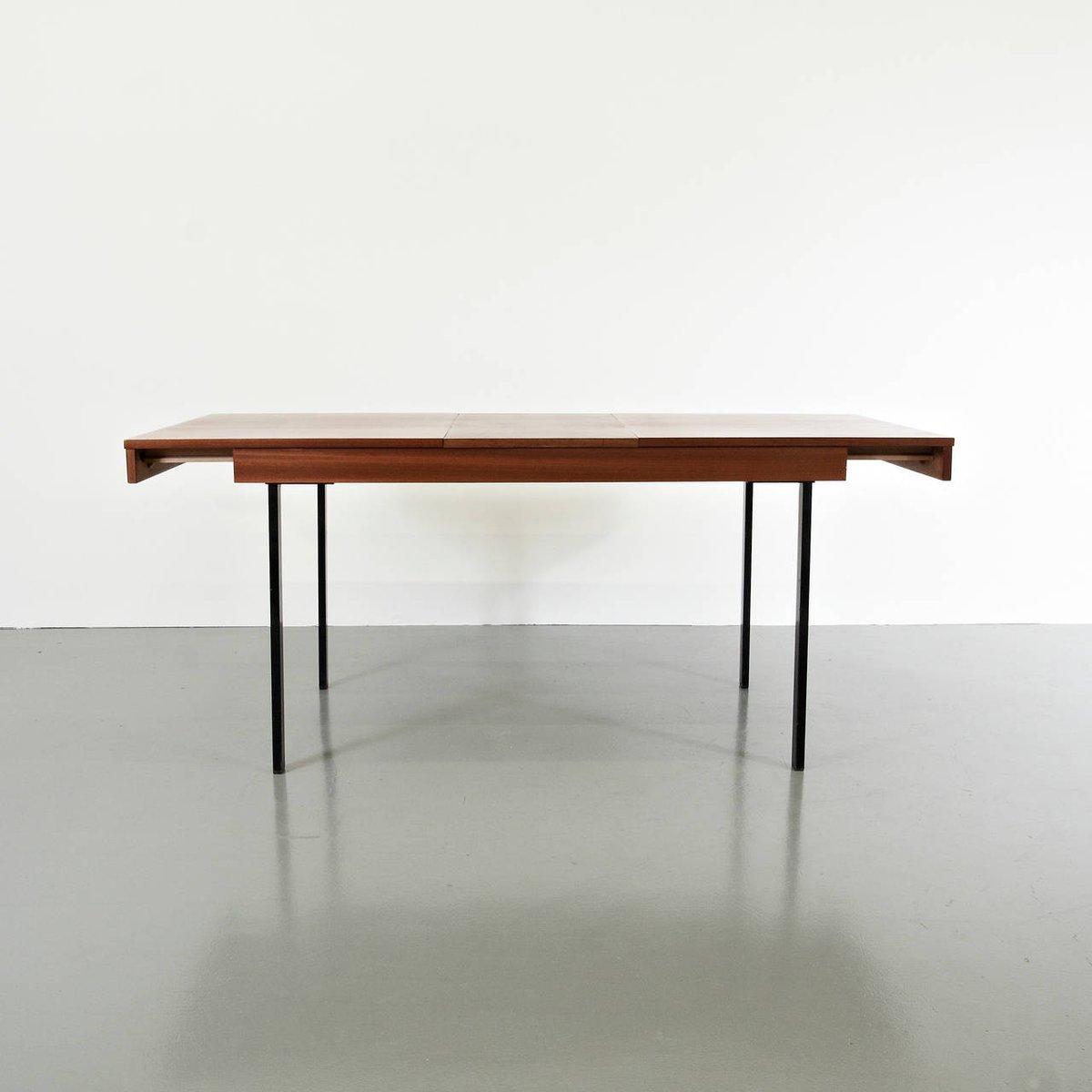 Tavolo da pranzo allungabile in legno e ferro di Pierre Guariche per ...