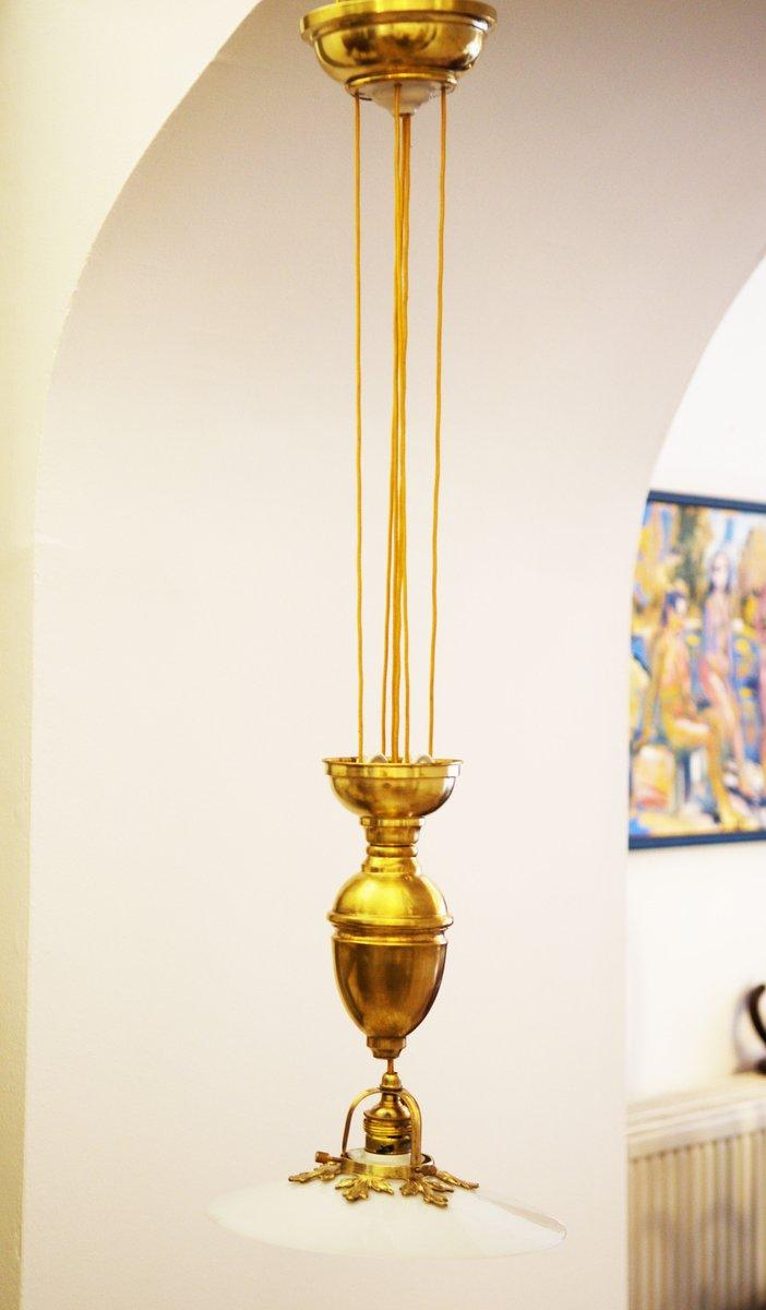 Messing Hängelampe - Verstellbare Art Nouveau Messing Hängelampe bei Pamono kaufen