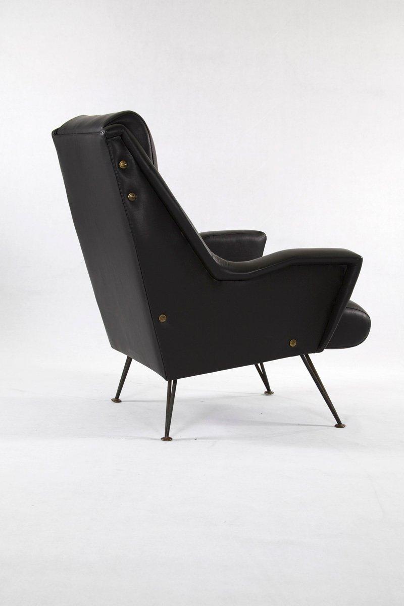 Italienische sessel aus leder stahl 1950er 2er set bei for Sessel italienisches design