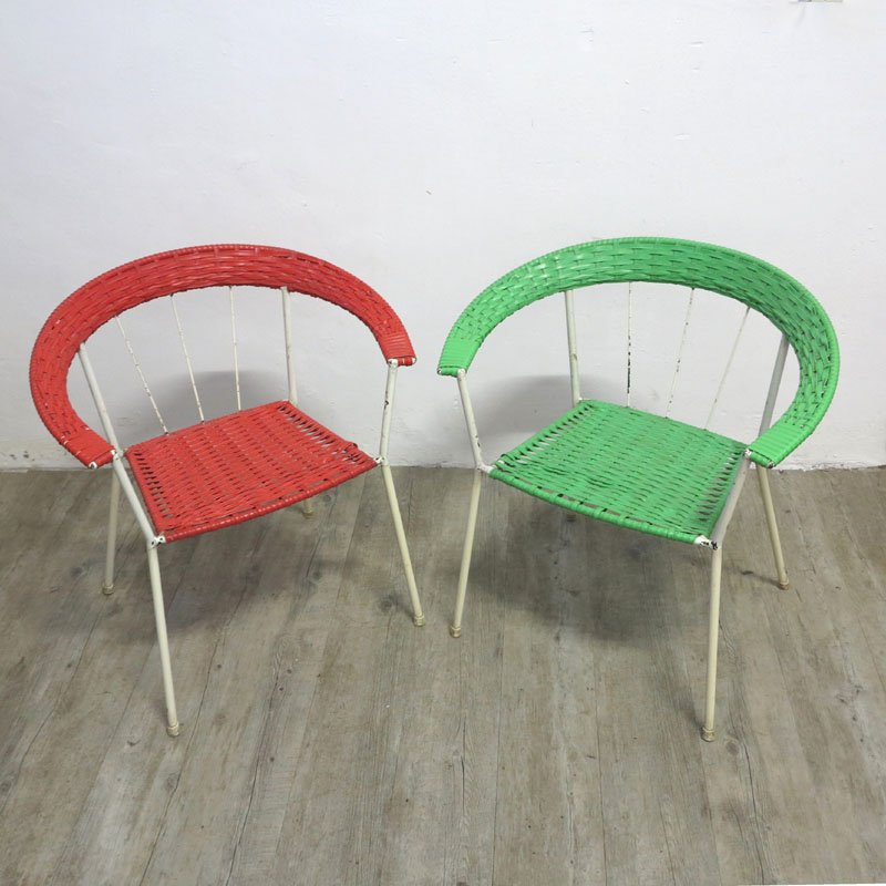 Charming German Vintage Garden Chairs In Red U0026 Green, Set Of 2