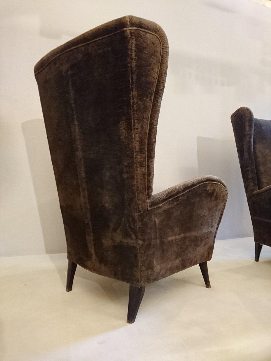 italienische sessel mit hoher r ckenlehne 1950er 2er set bei pamono kaufen. Black Bedroom Furniture Sets. Home Design Ideas