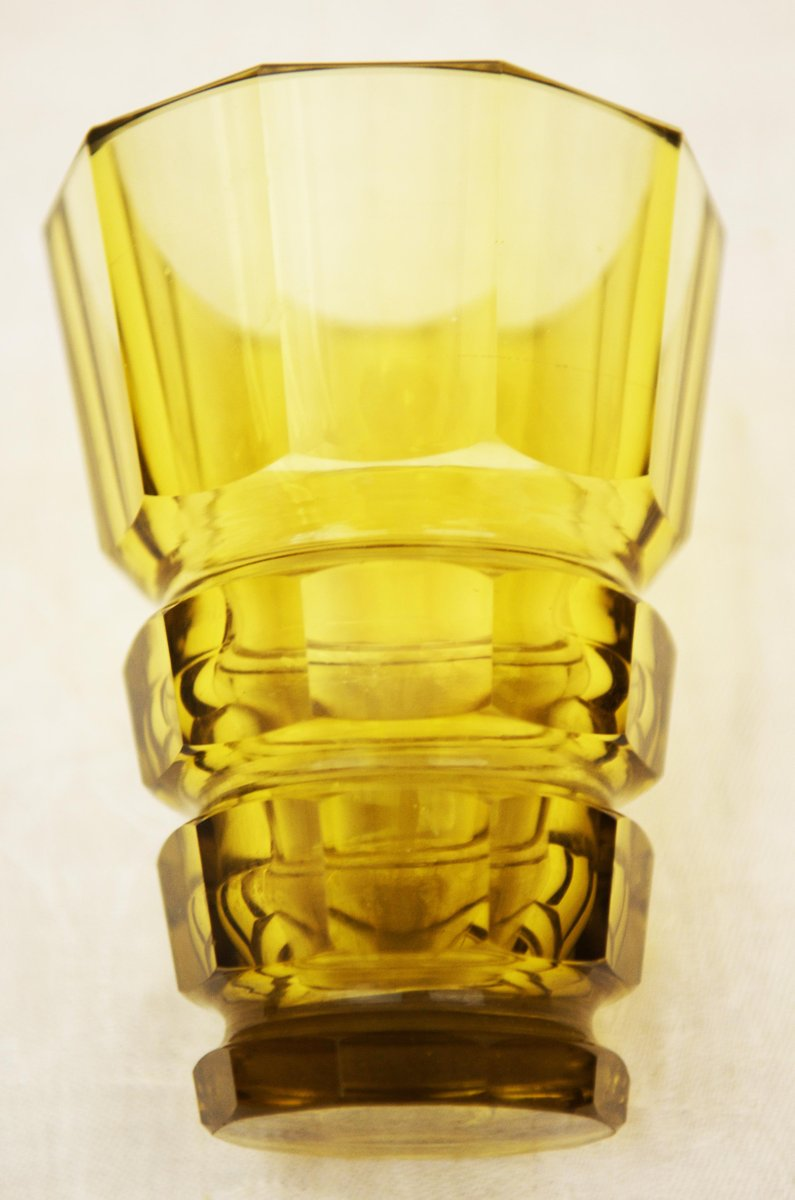 Yellow art deco bohemian crystal glass vase for sale at pamono yellow art deco bohemian crystal glass vase reviewsmspy