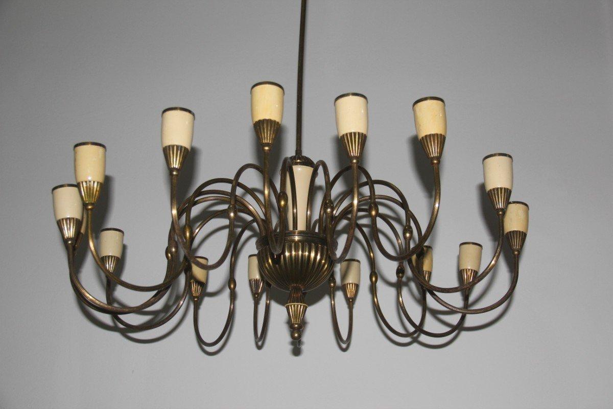 italienischer mid century kronleuchter mit 16 leuchten bei. Black Bedroom Furniture Sets. Home Design Ideas