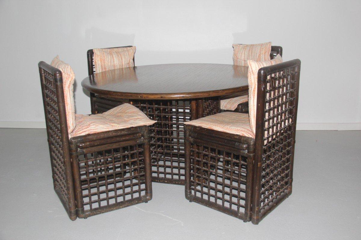 Rattan Dining Room Set by Tobia & Afra Scarpa for B&B Italia ...