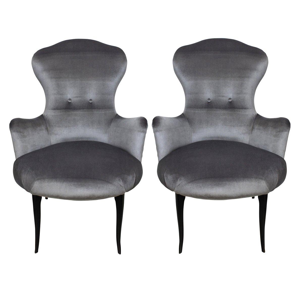 italienische samt sessel 1950er 2er set bei pamono kaufen. Black Bedroom Furniture Sets. Home Design Ideas