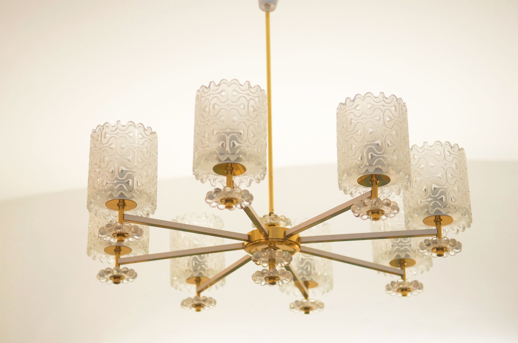 Vintage Brass and Glass Chandelier from Austria 1970s for sale at
