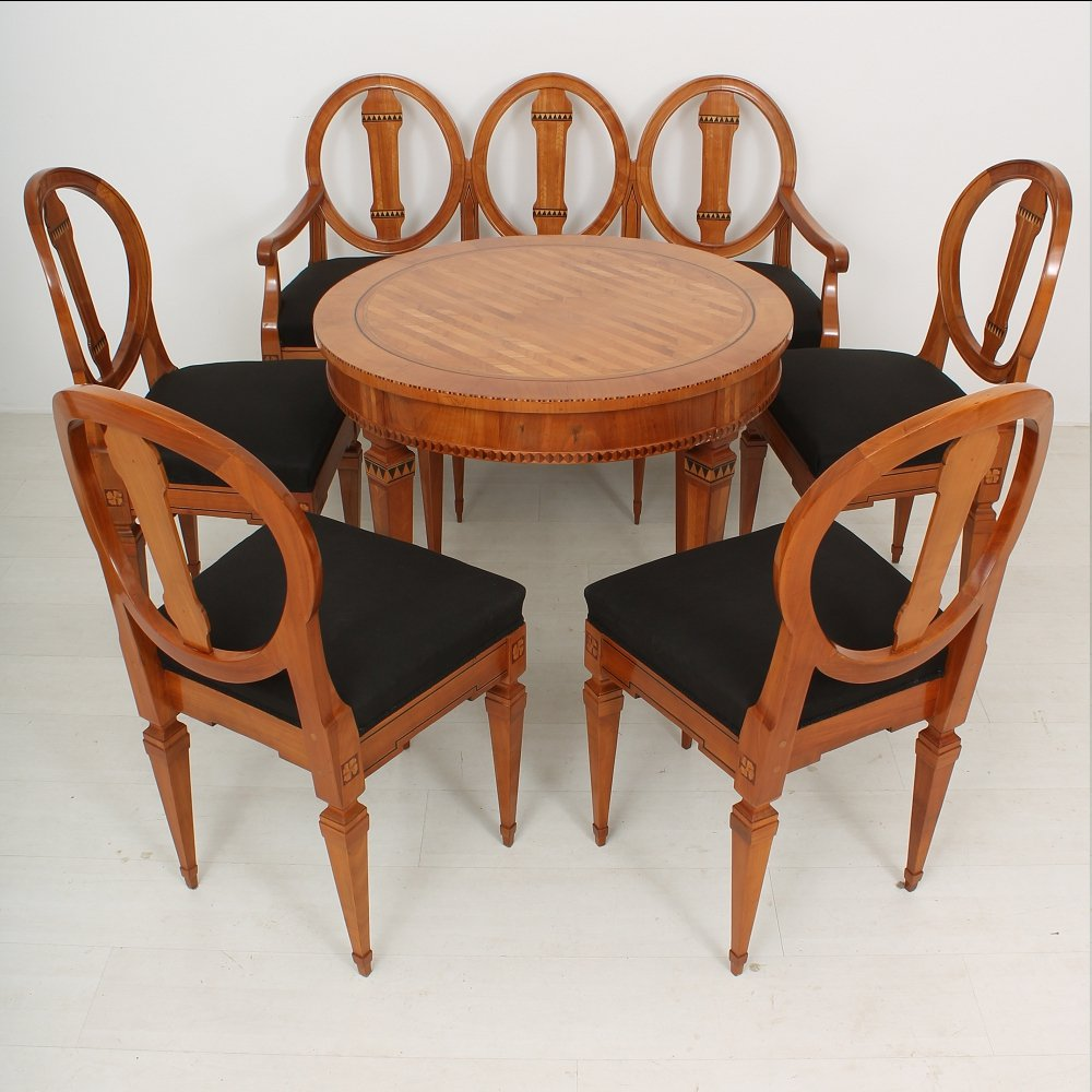 Louis XVI Cherry Dining Table, Bench and Chairs, 1790s, Set of 6 ...