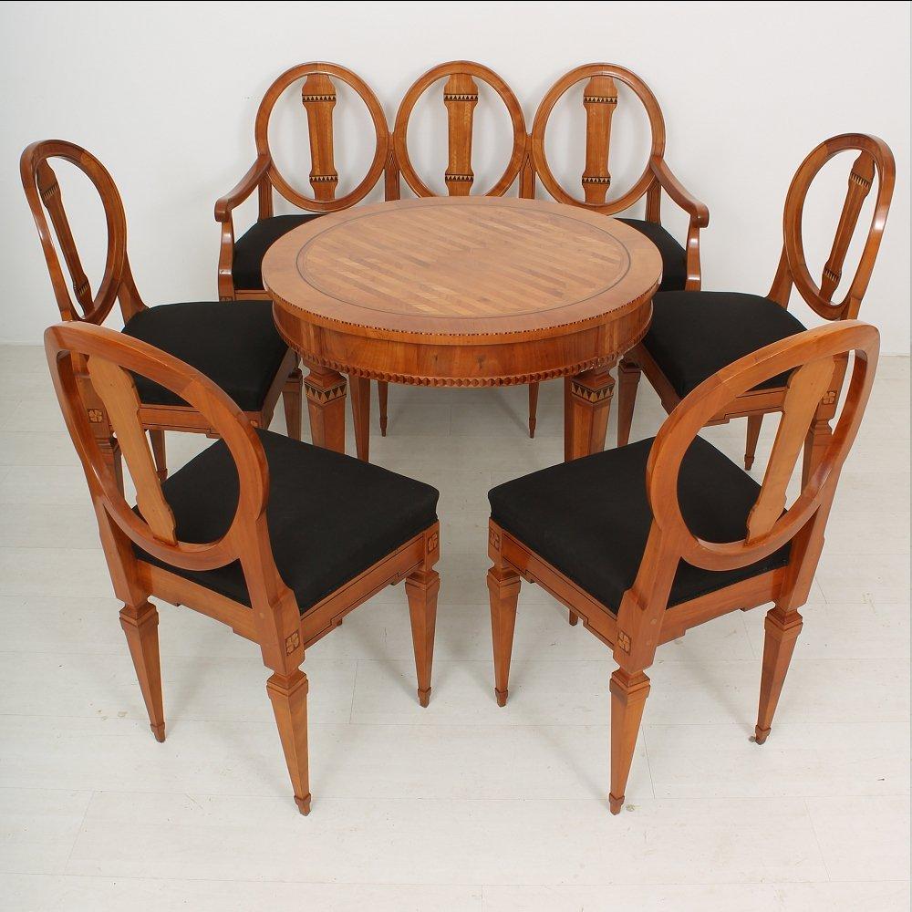 ludwig xvi kirschholz esstisch mit bank und st hlen. Black Bedroom Furniture Sets. Home Design Ideas