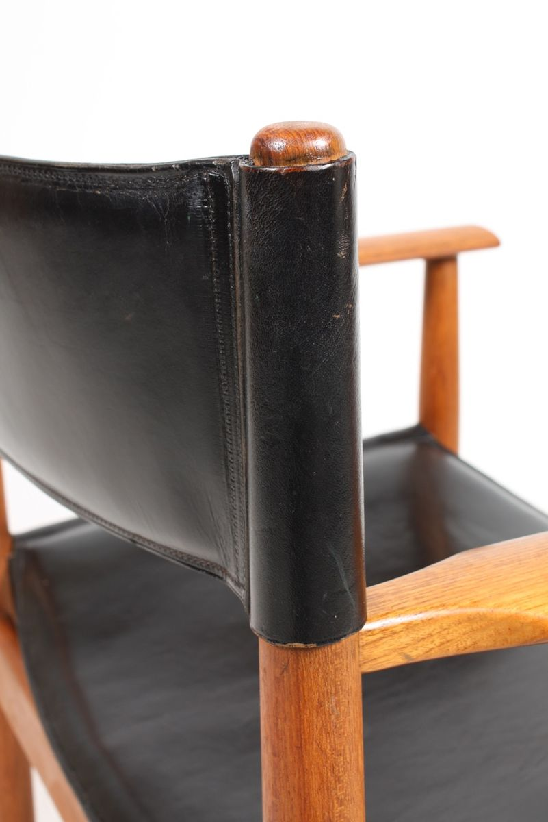 armlehnstuhl mit schwarzem leder von kurt stervig f r. Black Bedroom Furniture Sets. Home Design Ideas
