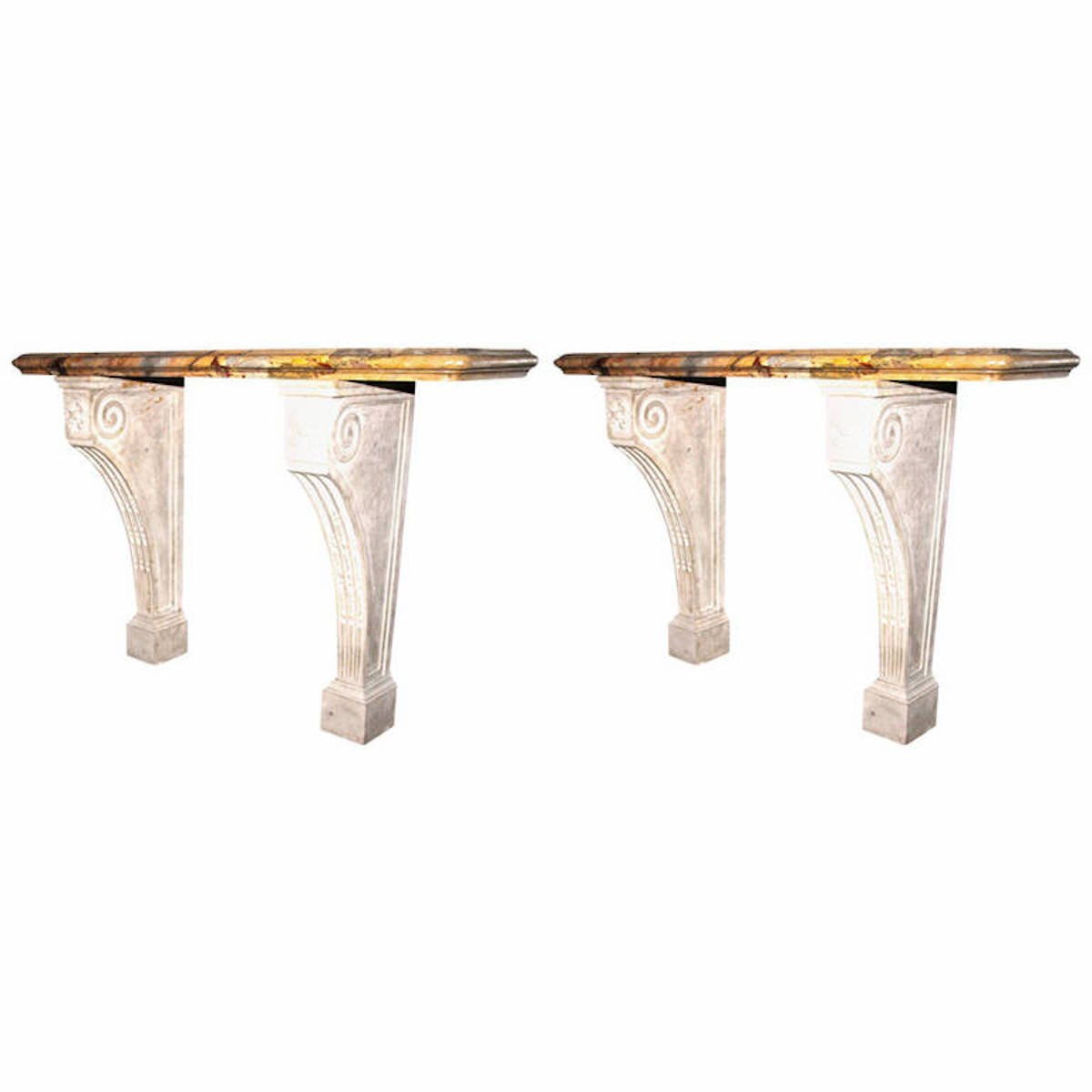 Antique Sarrancolin Marble Console Table, Set of 2 for sale at Pamono
