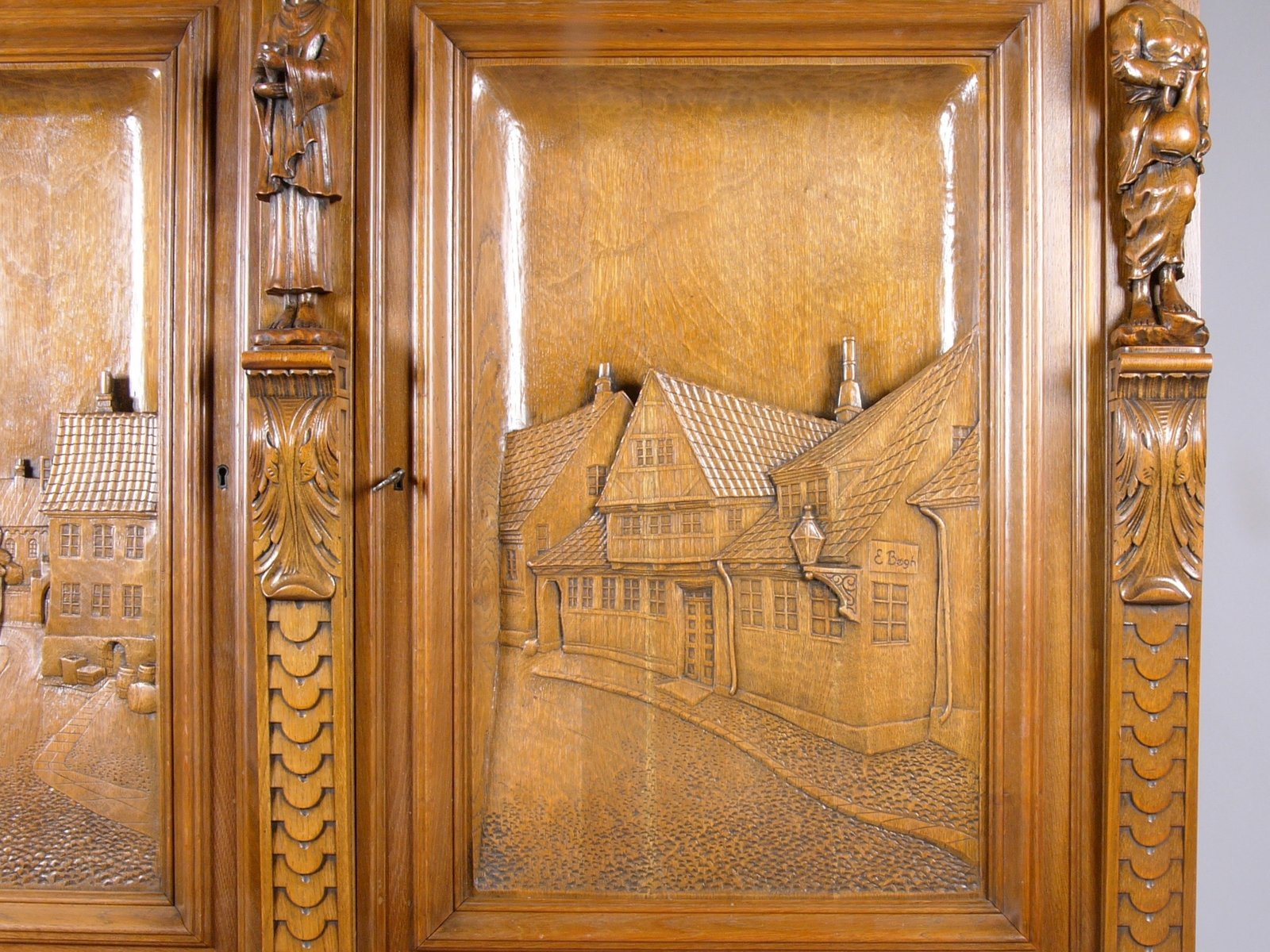 Large Oak Cabinet with Hand-Carved Doors from E. Bøgh 1950s & Large Oak Cabinet with Hand-Carved Doors from E. Bøgh 1950s for ...